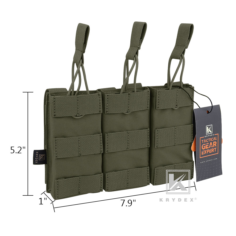 KRYDEX Tactical Triple 5.56 Open Top Magazine Pouch MOLLE Webbing Ranger Green